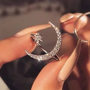 Jewelry - White Topaz Moon and Star Open Ring Cuff